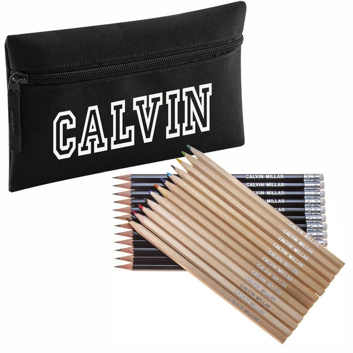 Pencil Case with 12 Colouring Pencils & 12 HB Pencils