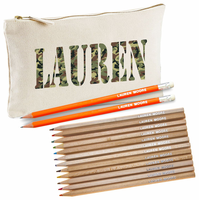 Camouflage Print Canvas Pencil Case with Pencils