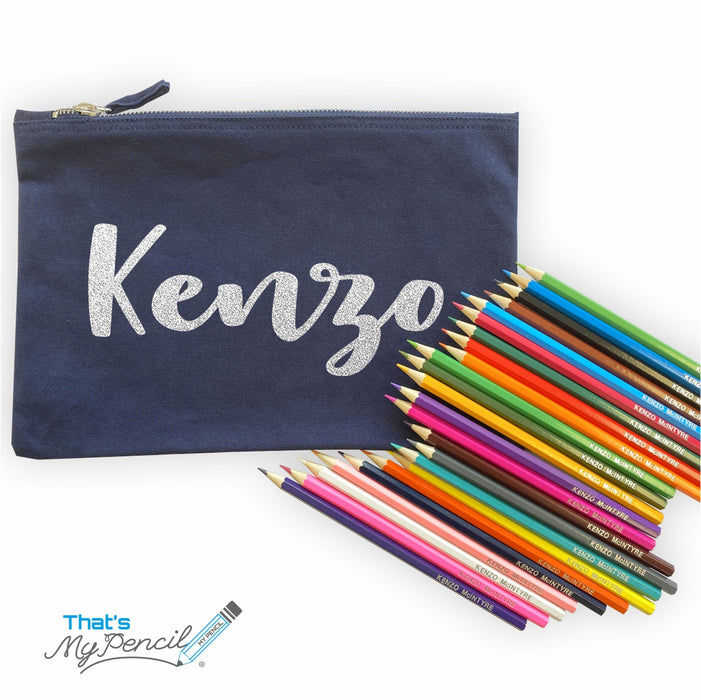 Large Canvas Pencil Case with 24 Colouring Pencils