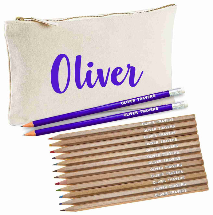 Canvas Pencil Case with 12 Colouring and 2HB Pencils