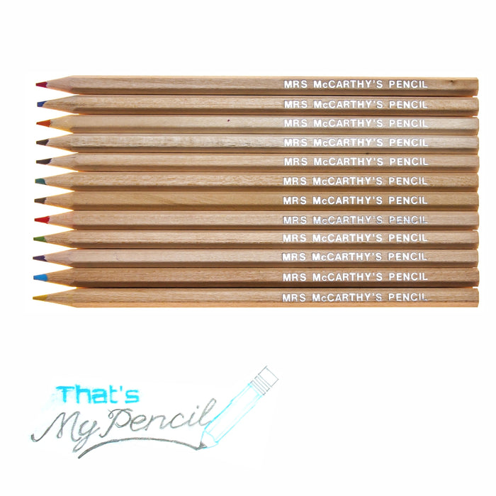 Natural Wood Colouring Pencils Embossed with Name