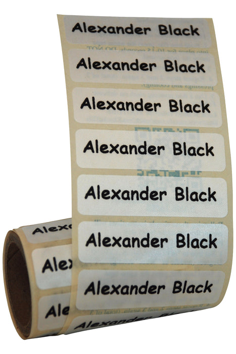Iron-On Name Tapes Black Print on White Tapes