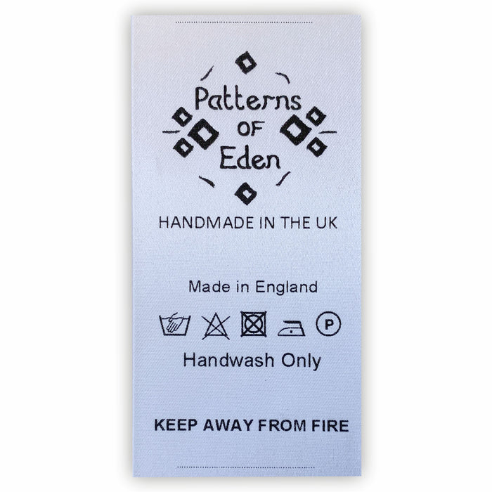 Sew-in Garment Labels Customised with Washing Symbols/Instructions