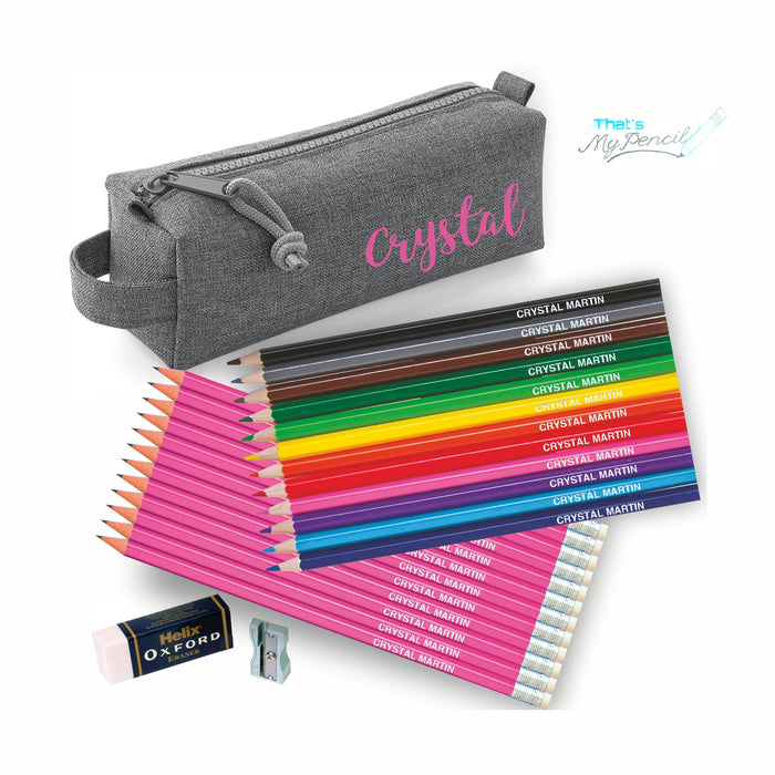 Block Style Pencil Case with Coloured & 12 Pencils