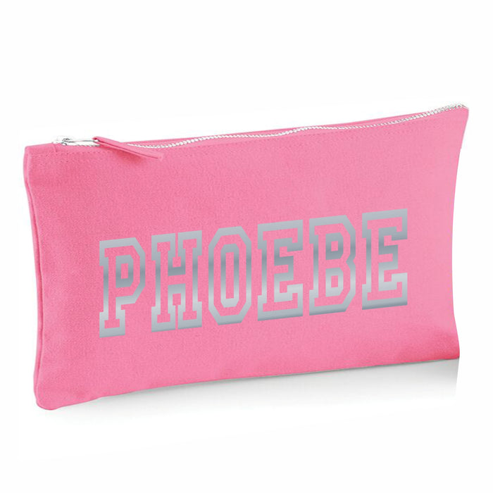 Pink Canvas Pencil Case with 12 Colouring and 2 HB Pencils