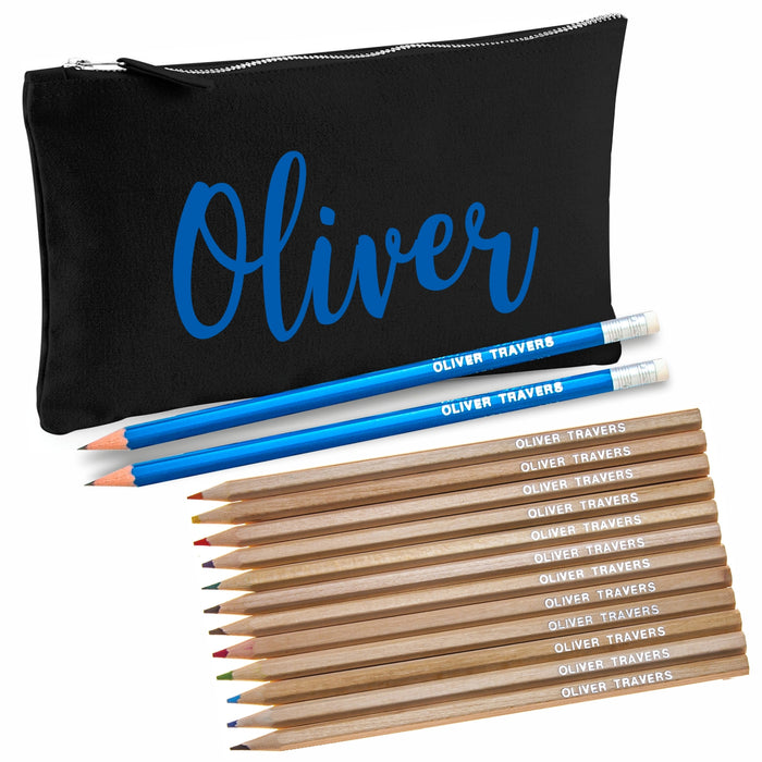 Black Canvas Pencil Case with 12 Colouring and 2 HB Pencils