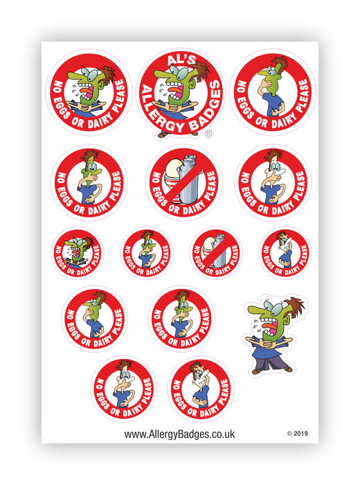 Egg & Dairy Allergy Warning Stickers - No Eggs & Dairy
