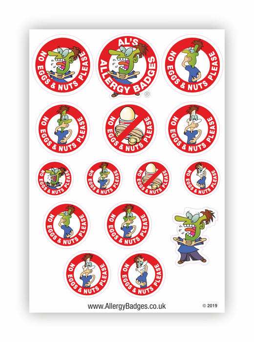 Egg & Nut Allergy Warning Stickers - No Eggs & Nuts