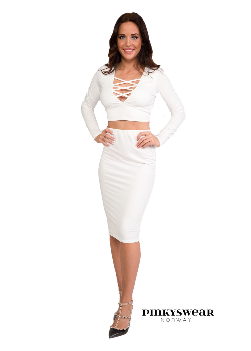 Lace up set - White