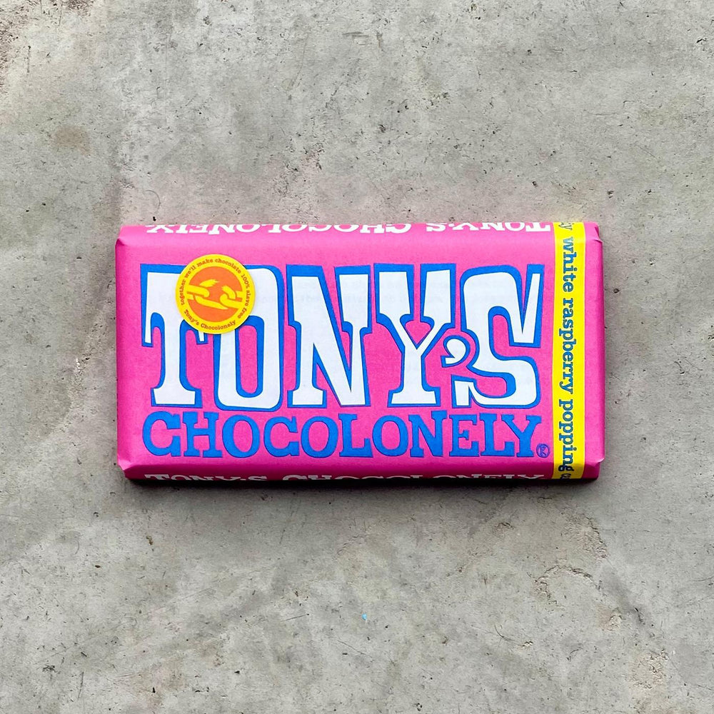 Tony's Chocolonely- White Chocolate with freeze-dried raspberry and popping sugar