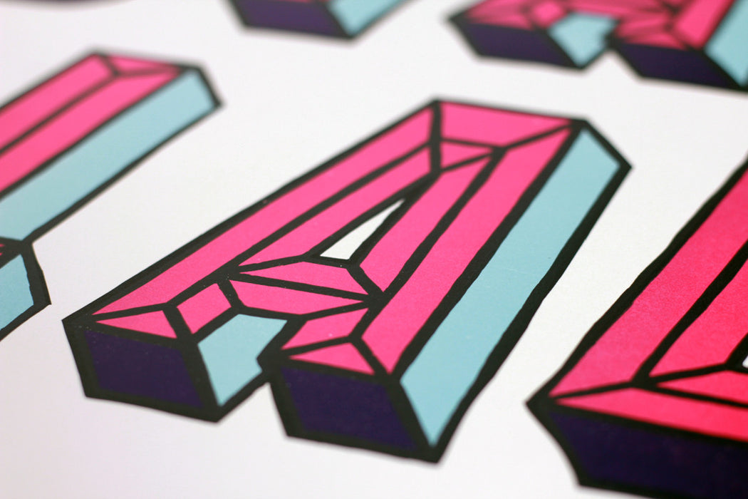 Stay Glad One Strong Arm Irish screenprint limited edition detail