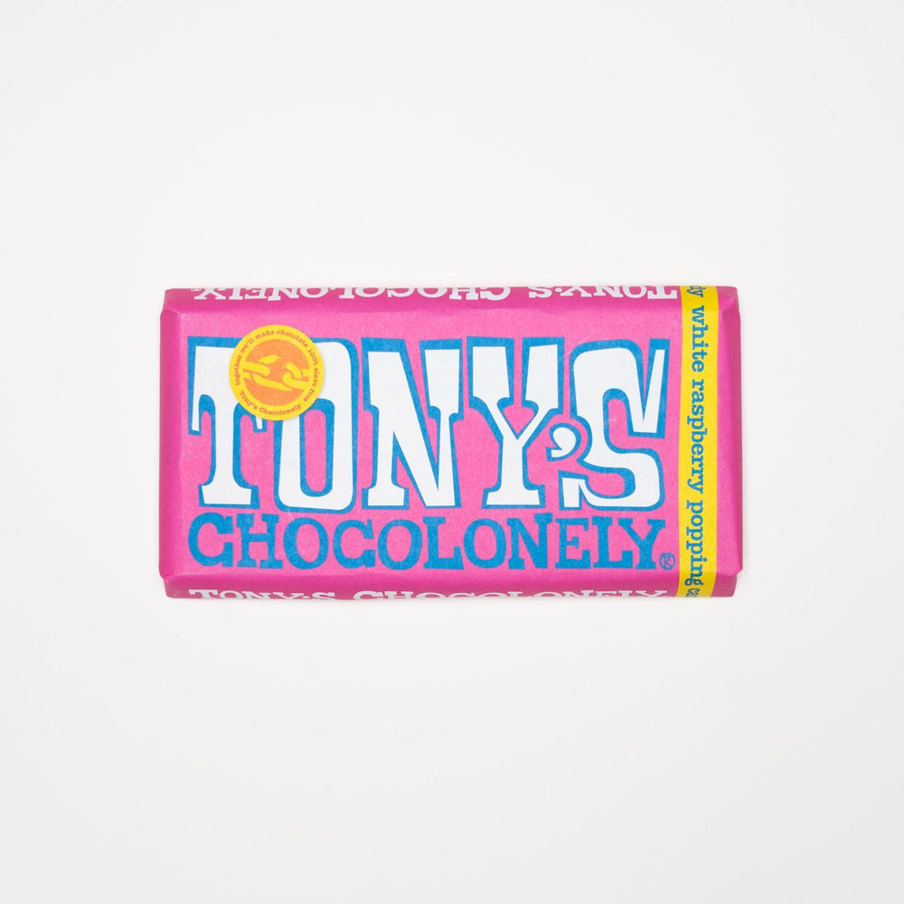 Tony's Chocolonely - White Chocolate with freeze-dried raspberry and popping sugar