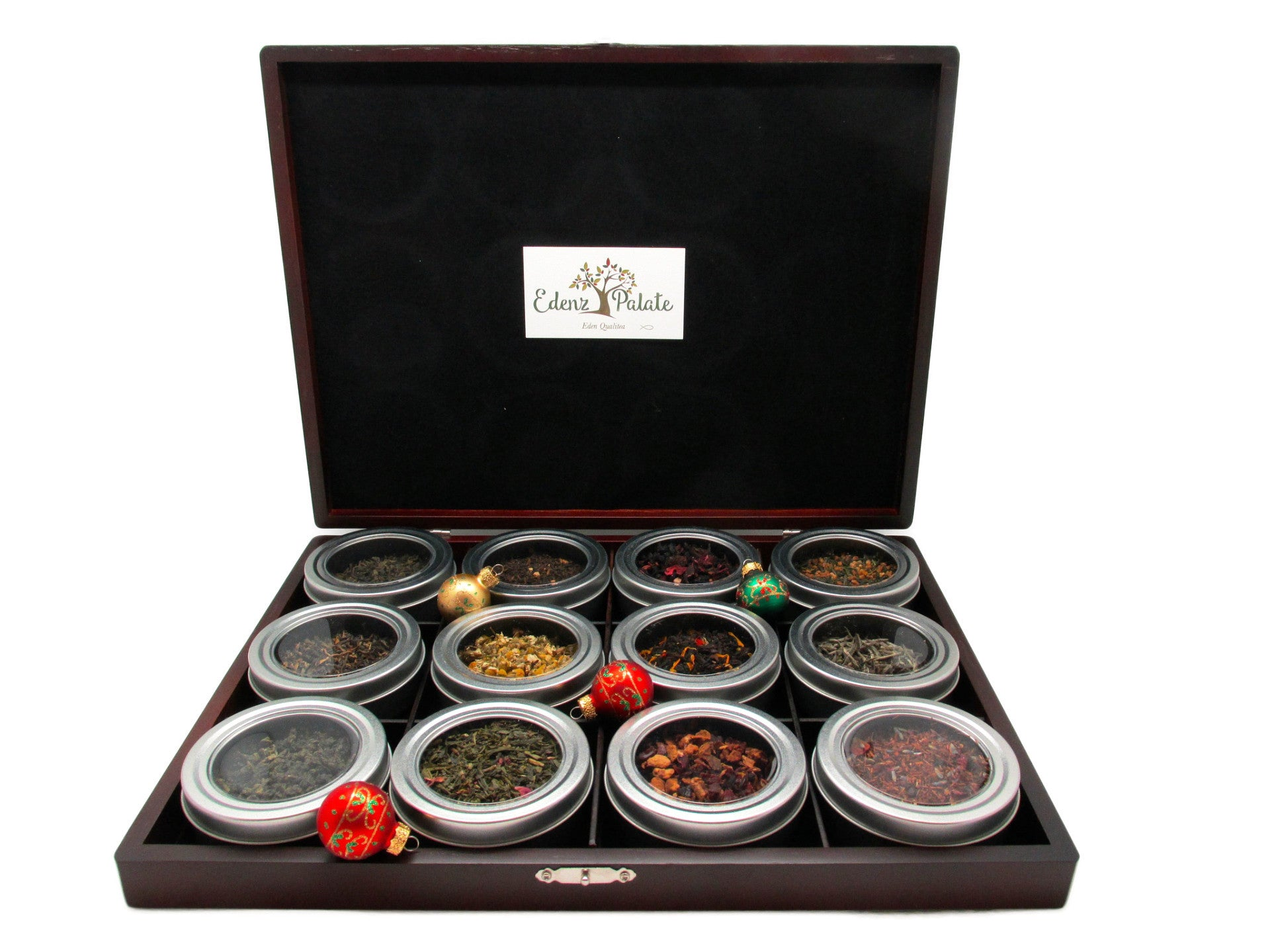 Wooden Tea Sampler Gift Box (12 Canisters) - Loose Tea Storage ...