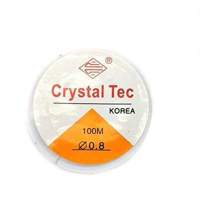 Crystal Tec Elastic Bead Cord, Transparent, 0.8mm, ~ 100 meters