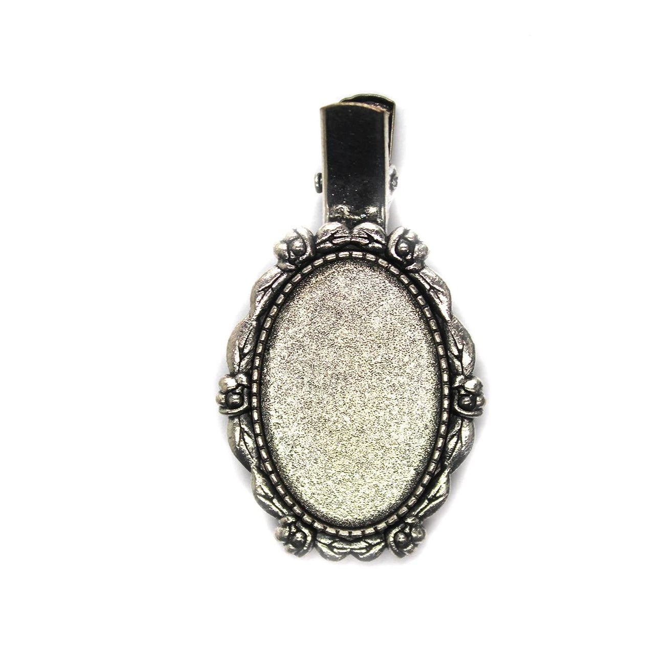 Glue On Bezel Barrette, Antique Silver, Alloy, 51mm X 30mm, 1pc