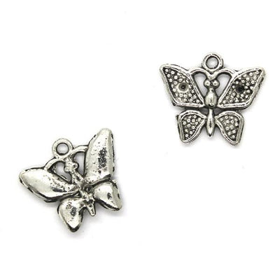 Charms, Butterfly, Silver, Alloy, 18mm X 21mm, Sold Per pkg of 4