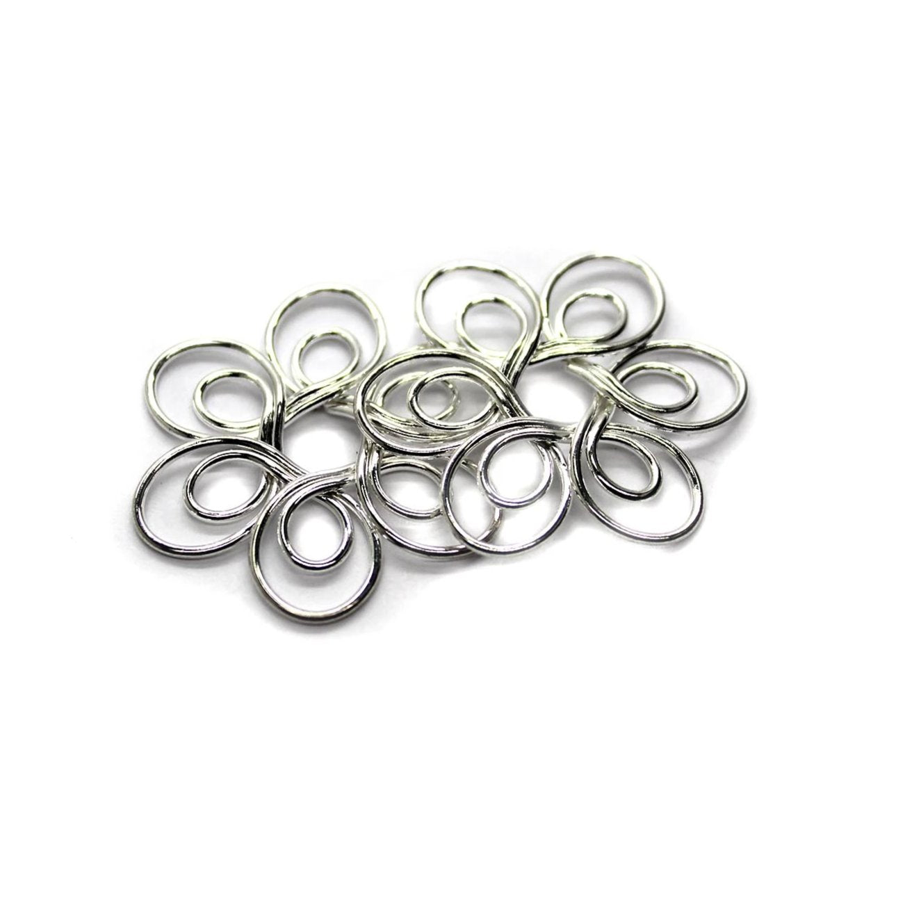 Connector, Flower Charm, Alloy, Silver, 30mm x 30mm, Sold Per pkg of 2