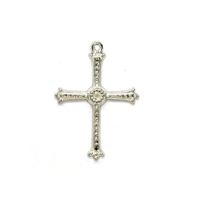 Charms, Dotted Cross, Silver, Alloy, 35mm X 25mm, Sold Per pkg of 6