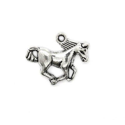 Charms, Galloping Horse, Silver, Alloy, 16mm X 20mm, Sold Per pkg of 6
