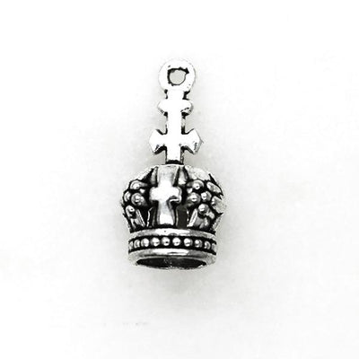 Charms, Cross Crown, Silver, Alloy, 18mm X 9mm, Sold Per pkg of 4