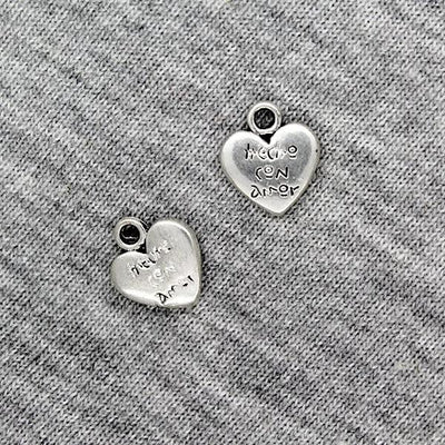 Charms, Heart w/ Writing, Silver, 14mm X 12mm, Sold Per pkg of 6