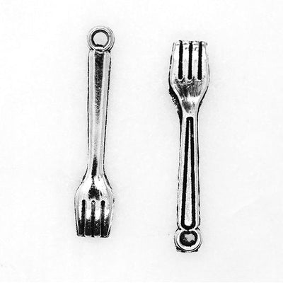 Charms, Forks, Silver, Alloy, 25mm X 5mm, Sold Per pkg of 10