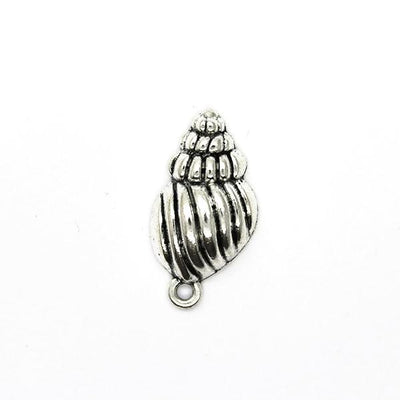 Charms, Exotic Seashell, Silver, Alloy, 25mm X 13mm X 6mm, Sold Per pkg of 4