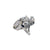 Bail, Flying Butterfly with Cubic Zirconia, Sterling Silver, 15mm X 11mm - 1pc