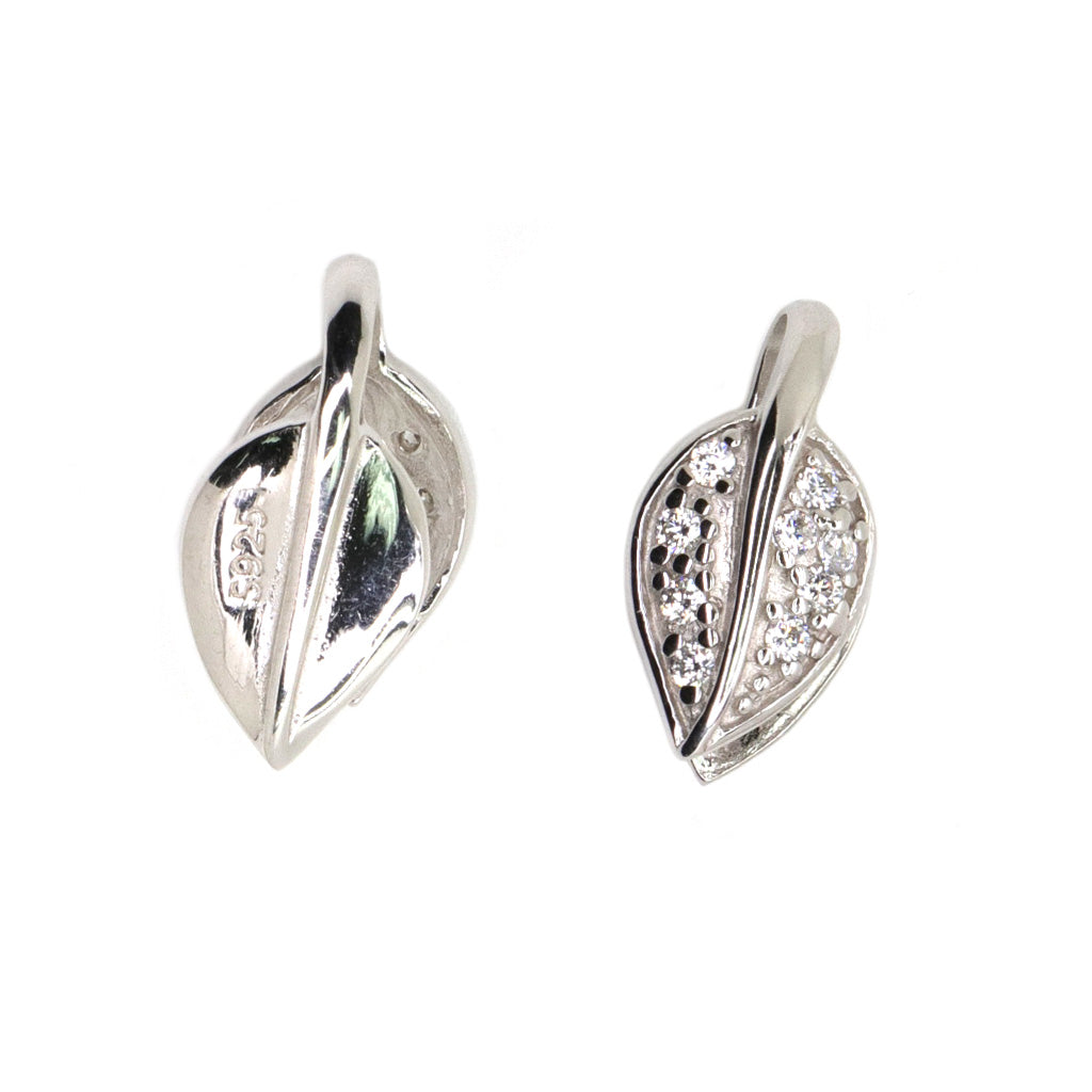 Bail, Leaf with Cubic Zirconia, Sterling Silver, 16mm X 8mm - 1pc