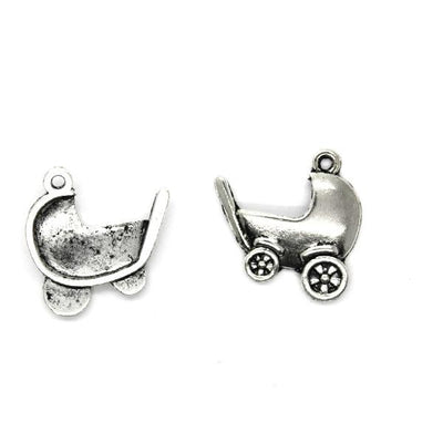 Charms, Plain Baby Carriage, Silver, Alloy, 21mm X 20mm, Sold Per pkg of 4