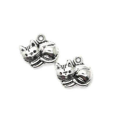 Charms, Peaceful Kitten, Silver, Alloy, 16mm X 12mm X 3mm, Sold Per pkg of 8