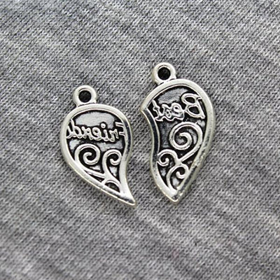 Charms, Best Friends, Silver, Alloy, 24mm X 19mm X 2mm, Sold Per pkg of 2