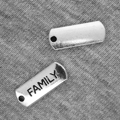 Charms, Family Tag, Silver, Alloy, 21mm X 8mm X 2mm, Sold Per pkg of 3
