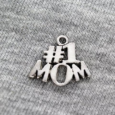 Charms, #1 Mom, Silver, Alloy, 16mm X 12mm X 2mm, Sold Per pkg of 3