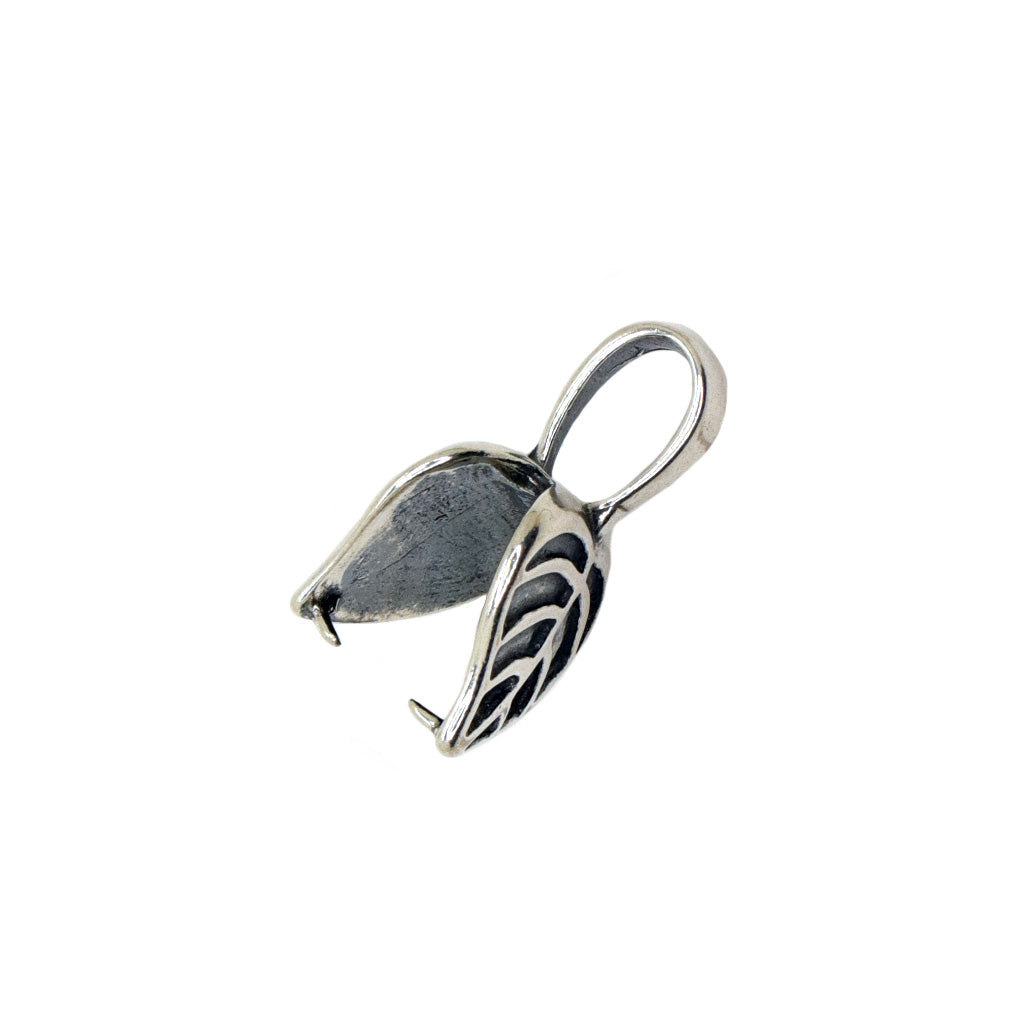 Bail, Leaf, Sterling Silver, 21mm X 11mm - 1pc