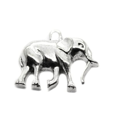 Charms, Large Horned Elephant, Silver, Zinc Alloy, 26mm X 33mm,  Sold Per pkg of 2