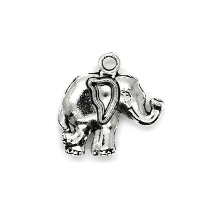 Charms, Big Ear Elephant, Silver, Alloy, 21mm X 20mm, Sold Per pkg of 4