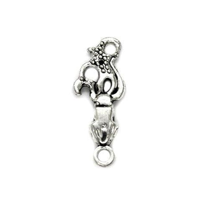 Charms, Squirmy Squid, Silver, Alloy, 24mm X 9mm, Sold Per pkg of 5