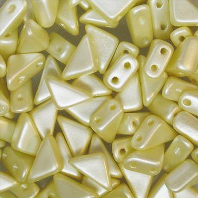 Czech Glass Tango Bead, 2-Hole, 6mm, Cream Aury Pearl, Approx 5.3g - Butterfly Beads