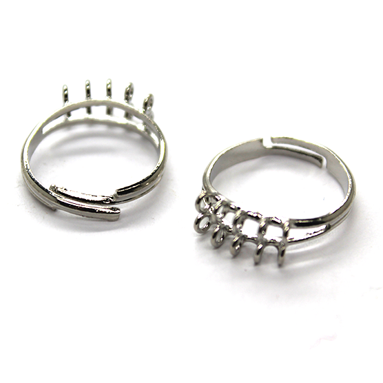 Base, Ring Base with 2 Rows & 10 Loops, Silver, Alloy, 21mm x 6mm x 2mm (loop), Sold Per pkg of 2