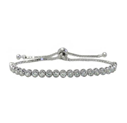 Adjustable Cubic Zirconia Stone Bracelet, Sterling Silver with Rhodium, Silicone Bead Stopper, 3mm - Butterfly Beads