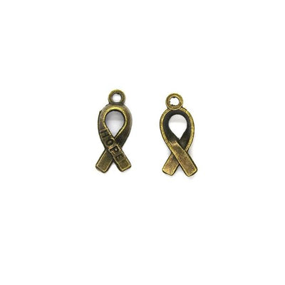 Charms, Hope Ribbon, Bronze, Alloy, 18mm X 8mm, Sold Per pkg of 6