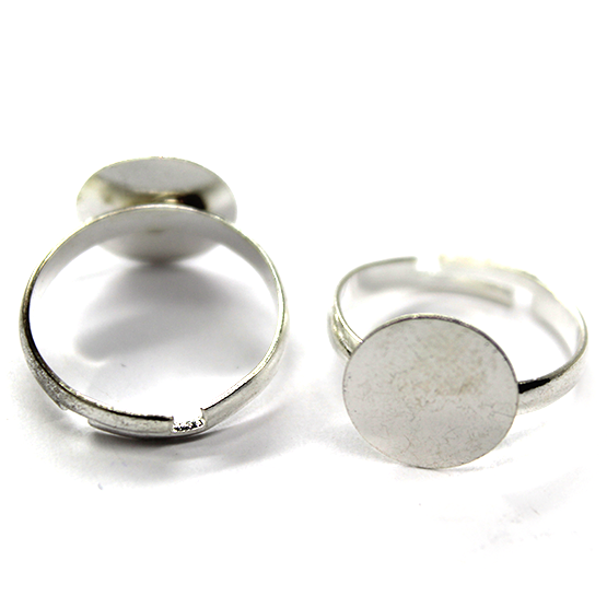 Base, Glue On Base on Adjustable Ring, Bright Silver, Alloy, 19mm (Length) 11mm x 11mm (base), Sold Per pkg of 2