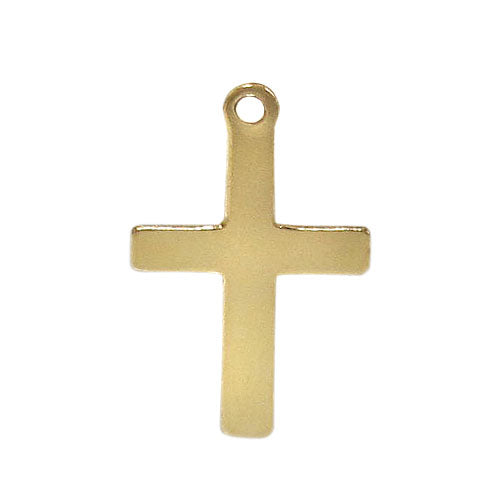 Charm, Flat Cross , 14K Gold Filled, 16mmL x 10mmW , Sold Per pkg of 1