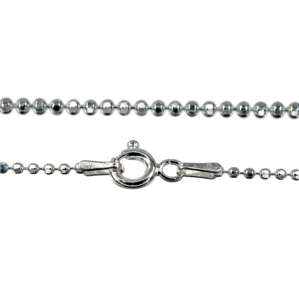 Chain, Diamond Cut Bead, Sterling Silver, 18inch - 1pc