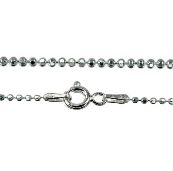Chain, Diamond Cut Bead, Sterling Silver, 20inch - 1pc