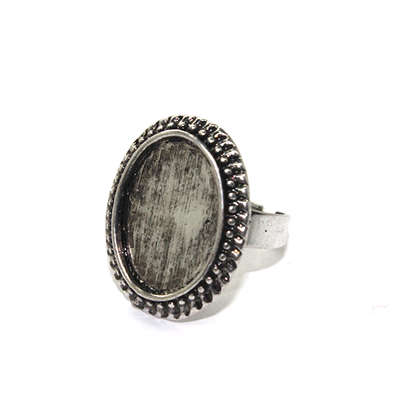 Base, Glue On Bezel Ring, Antique Silver, Alloy, 21mm (Length) 23mm x 19mm (bezel), Sold Per pkg of 2