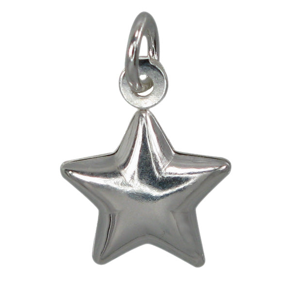Charm, Star, Sterling Silver, 9mm Diameter, Sold Per pkg of 1