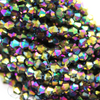 Chinese Glass Crystal, Bicone, Black AB, 3mm, 140 pcs per strand