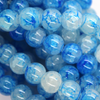 Marble Style Glass Beads, Blue, 8mm  - 1mm (hole), 100 pcs per strand